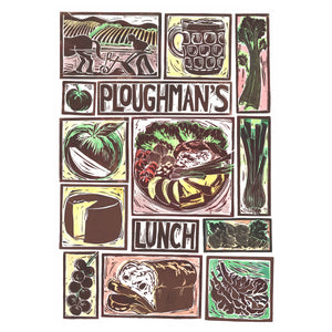 Kate Guy Prints Ploughman's Lunch Illustrated recipe Linocut greetings card