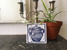 Load image into Gallery viewer, Cooking Pot handmade tile trivet lino cut by Kate Guy