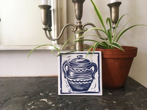 Cooking Pot handmade tile trivet lino cut by Kate Guy
