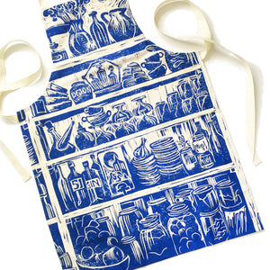 French Country kitchen lino cut organic cotton apron lino cut by Kate Guy