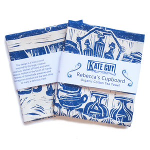 French Country Kitchen lino cut tea towels by Kate Guy