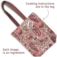 Load image into Gallery viewer, Tomato Soup Illustrated Recipe long handled tote bag lino cut design by Kate Guy