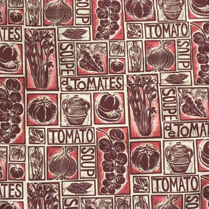Roasted Tomato Soup Illustrated Recipe apron lino cut by Kate Guy