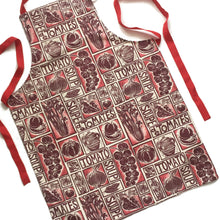 Load image into Gallery viewer, Roasted Tomato Soup Illustrated Recipe apron lino cut by Kate Guy