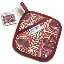 Load image into Gallery viewer, Roasted Tomato Soup Illustrated Recipe pot holder lino cut by Kate Guy
