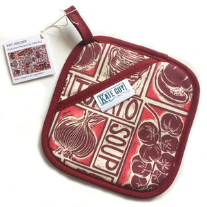 Roasted Tomato Soup Illustrated Recipe pot holder lino cut by Kate Guy