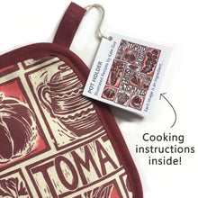 Load image into Gallery viewer, Tomato Soup illustrated recipe pot holder comes with cooking instructions,  lino cut print by Kate Guy