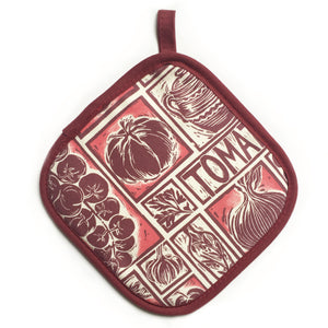 Tomato Soup illustrated recipe pot holder comes with cooking instructions,  lino cut print by Kate Guy