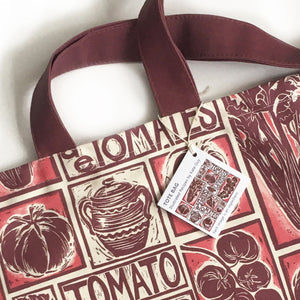 Tomato Soup Illustrated Recipe long handled tote bag lino cut design by Kate Guy