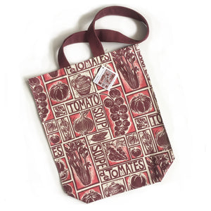 Roasted Tomato Soup Illustrated Recipe long handled tote bag lino cut by Kate Guy