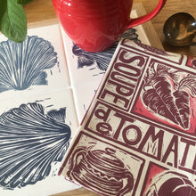 Load image into Gallery viewer, Tomato soup illustrated recipe napkin with scallop lino cut trivet by Kate Guy