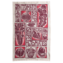 Load image into Gallery viewer, Roasted Tomato Soup Illustrated Recipe tea towel lino cut by Kate Guy