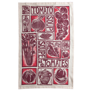 Roasted Tomato Soup Illustrated Recipe tea towel lino cut by Kate Guy