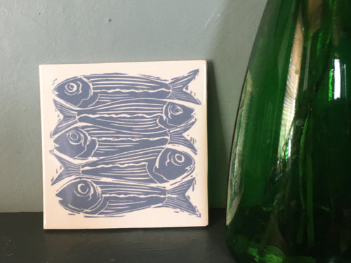 Sardines lino cut handmade tile trivet by Kate Guy