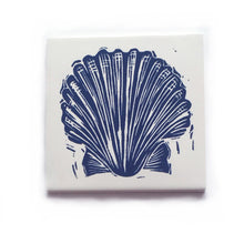 Load image into Gallery viewer, Scallop shell handmade tile in dark blue on cream, lino cut print by Kate Guy