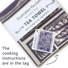 Load image into Gallery viewer, Scotch Broth Illustrated Recipe tea towel lino cut by Kate Guy