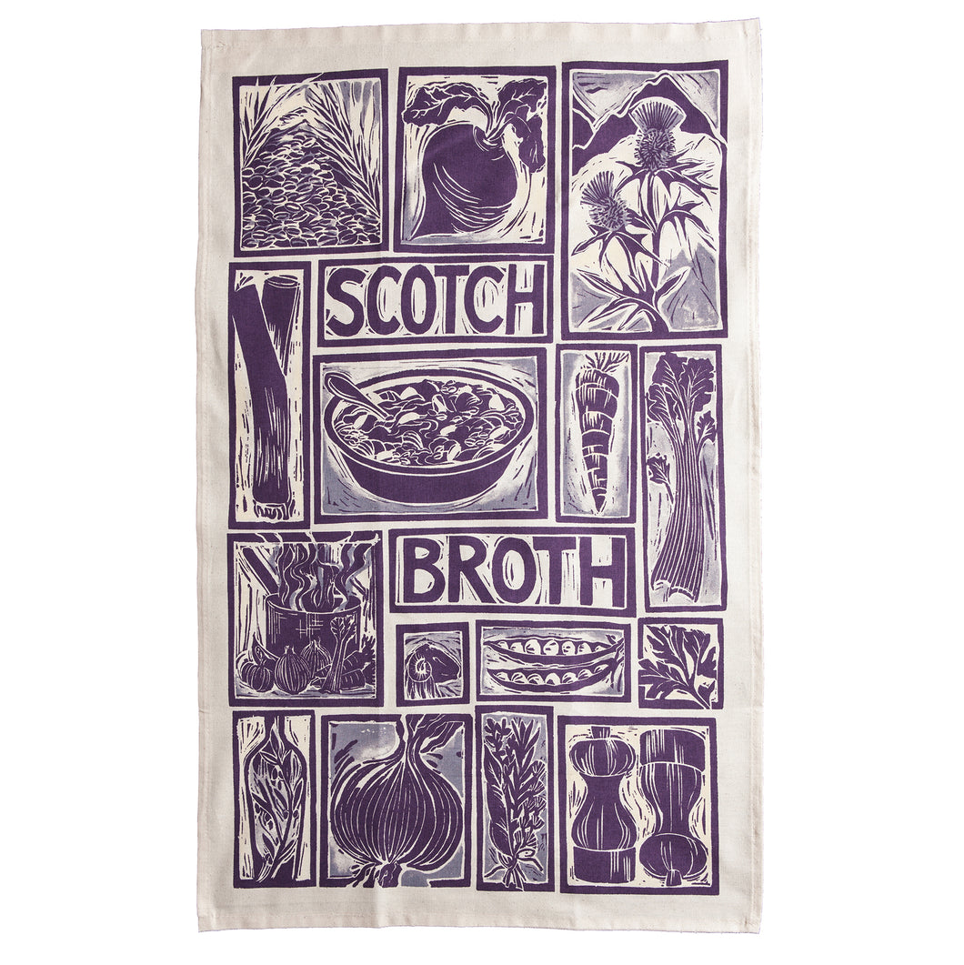 Scotch Broth illustrated recipe tea towel lino cut by Kate Guy
