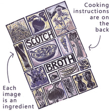 Load image into Gallery viewer, Scotch Broth Illustrated Recipe Greetings Card by Kate Guy each image is an ingredient the cooking instructions are on the back