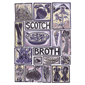 Scotch Broth Illustrated Recipe Greetings Card by Kate Guy each image is an ingredient the cooking instructions are on the back