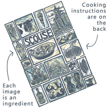 Load image into Gallery viewer, Scouse Illustrated Recipe Greetings Card by Kate Guy each image is an ingredient the cooking instructions are on the back
