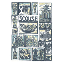 Load image into Gallery viewer, Kate Guy Prints Scouse Illustrated recipe Linocut greetings card