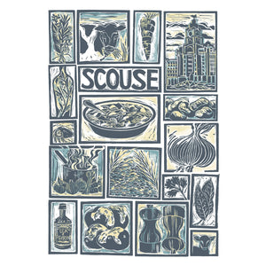 Kate Guy Prints Scouse Illustrated recipe Linocut greetings card