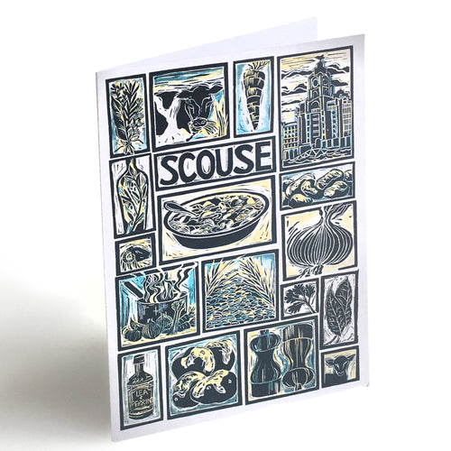 Scouse Illustrated Recipe Greetings Card by Kate Guy each image is an ingredient the cooking instructions are on the back