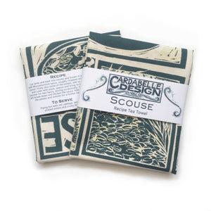 Scouse Illustrated Recipe tea towel lino cut by Kate Guy