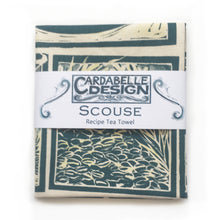 Load image into Gallery viewer, Scouse Illustrated Recipe tea towel lino cut by Kate Guy