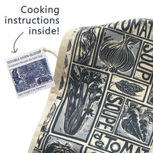 Load image into Gallery viewer, Simple Soups illustrated recipe organic cotton double oven glove lino cut by Kate Guy