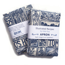 Load image into Gallery viewer, Simple Soups illustrated recipe organic cotton apron lino cut by Kate Guy