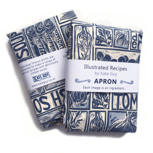 Simple Soups illustrated recipe organic cotton apron lino cut by Kate Guy