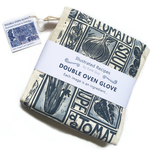 Simple Soups illustrated recipe organic cotton double oven glove lino cut by Kate Guy