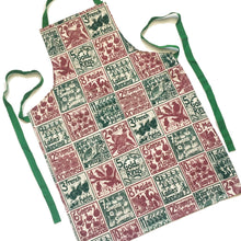 Load image into Gallery viewer, The Twelve days of Christmas organic cotton apron lino cut by Kate Guy