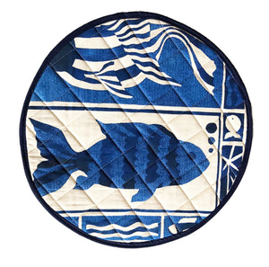 Blue Fish Design Linocut Print on Cooker Hob Cover by Kate Guy Prints Last One SALE