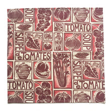 Load image into Gallery viewer, Tomato soup illustrated recipe napkins,, lino cut print by Kate Guy. Each image is an ingredient, cooking instructions are in on packaging