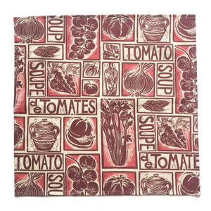 Tomato soup illustrated recipe napkins,, lino cut print by Kate Guy. Each image is an ingredient, cooking instructions are in on packaging
