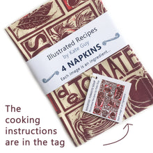 Load image into Gallery viewer, Tomato Soup illustrated recipe organic cotton napkins lino cut by Kate Guy comes with cooking instructions in the tag