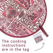 Load image into Gallery viewer, Tomato Soup illustrated recipe hob cover comes with cooking instructions,  lino cut print by Kate Guy