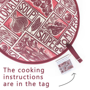Tomato Soup illustrated recipe hob cover comes with cooking instructions,  lino cut print by Kate Guy