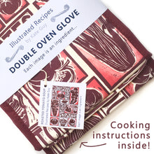 Load image into Gallery viewer, Tomato Soup illustrated recipe double oven glove comes with cooking instructions,  lino cut print by Kate Guy