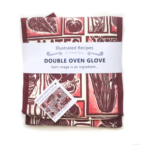 Tomato Soup illustrated recipe double oven glove comes with cooking instructions,  lino cut print by Kate Guy