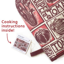 Load image into Gallery viewer, Tomato Soup illustrated recipe oven mitt comes with cooking instructions,  lino cut print by Kate Guy