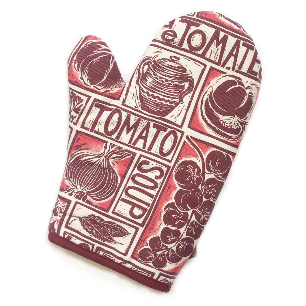 Tomato Soup illustrated recipe oven mitt comes with cooking instructions,  lino cut print by Kate Guy