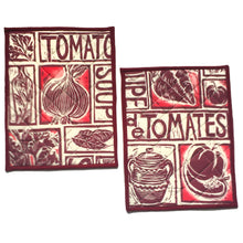 Load image into Gallery viewer, Illustrated recipe tomato soup cooker hob cover lino cut by Kate Guy