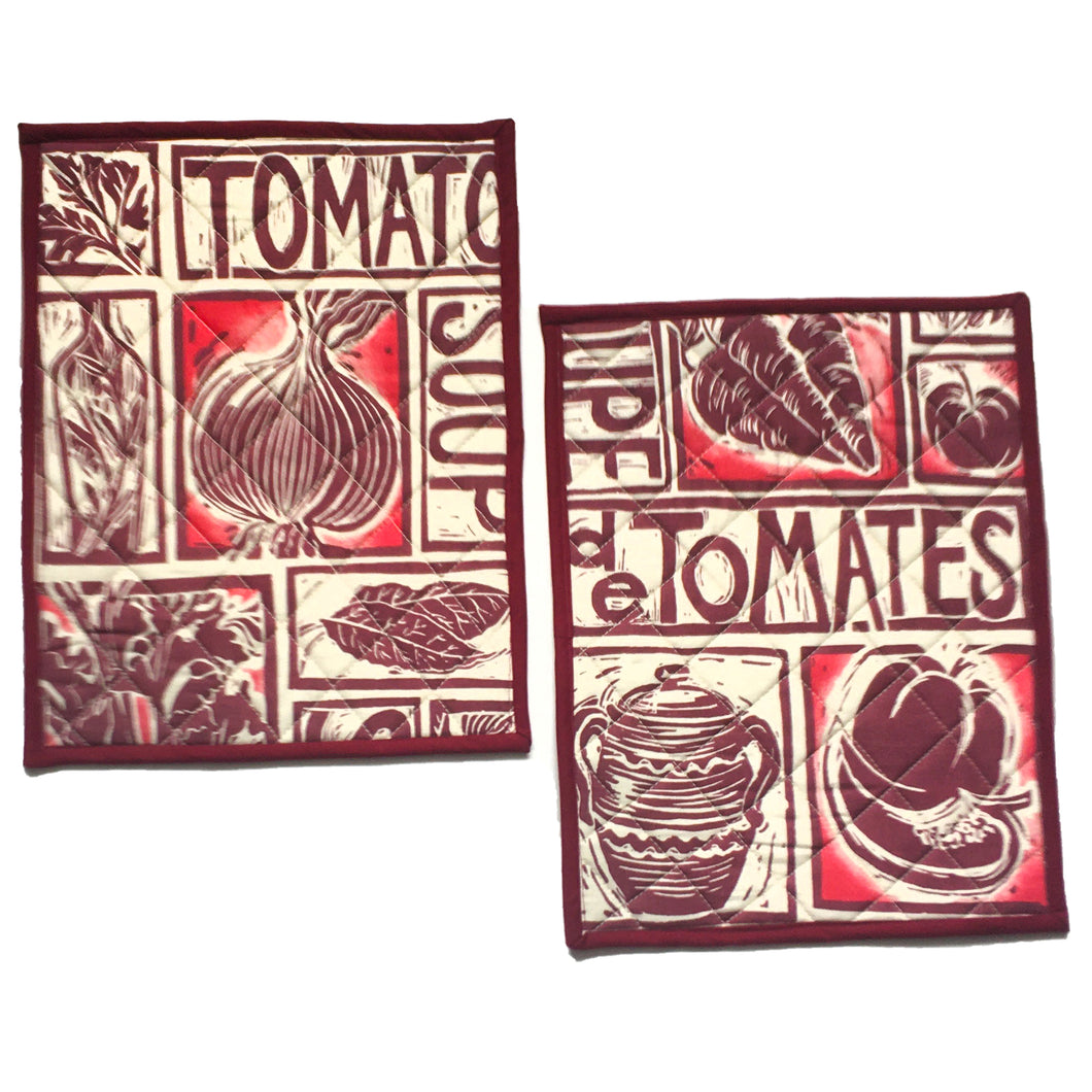 Illustrated recipe tomato soup cooker hob cover lino cut by Kate Guy