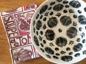Tomato and Basil Vegetable Bowl lino cut by Kate Guy