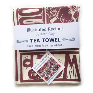 Tomato Soup illustrated recipe tea towel lino cut by Kate Guy