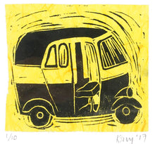 Load image into Gallery viewer, Tuk-Tuk limited edition lino cut print  ( 10 x 10 cm )