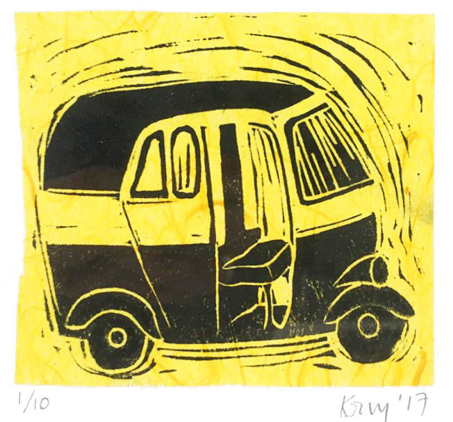 Tuk-Tuk limited edition lino cut print  ( 10 x 10 cm )